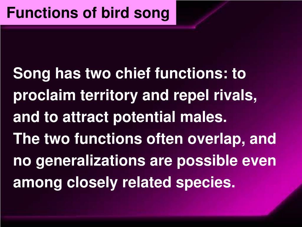 Functions of bird song