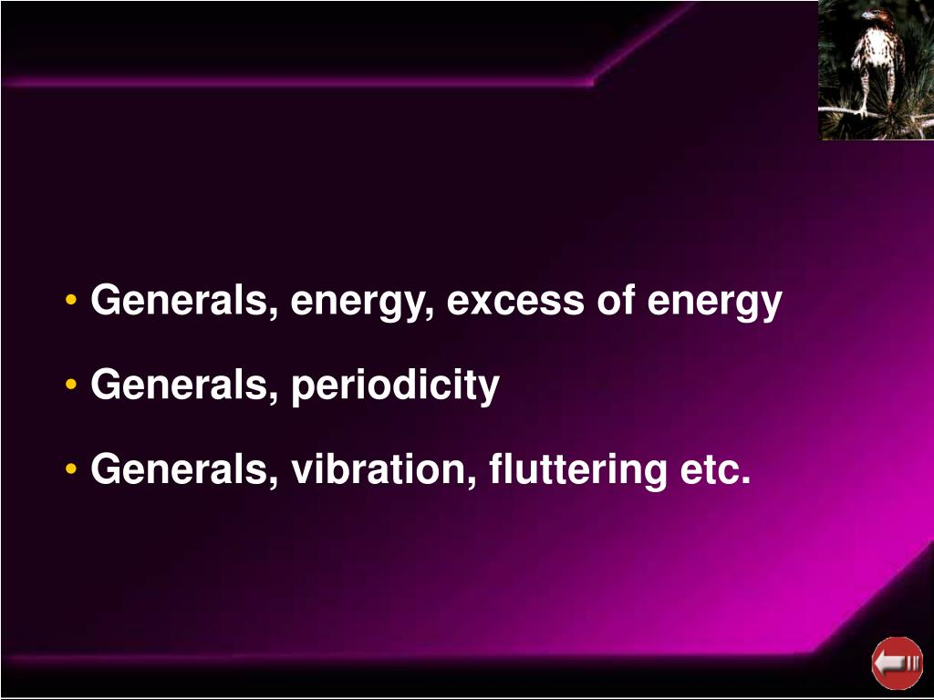 Generals, energy, excess of energy