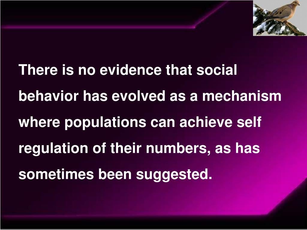 There is no evidence that social behavior has evolved as a mechanism where populations can achieve self regulation of their numbers, as has sometimes been suggested.