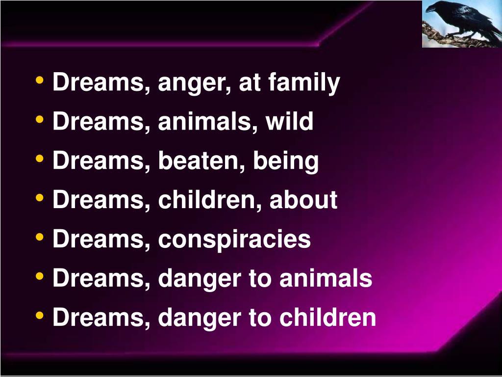 Dreams, anger, at family
