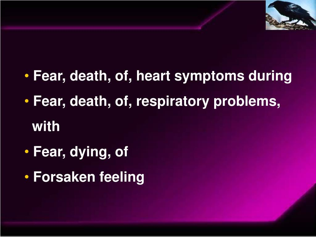 Fear, death, of, heart symptoms during