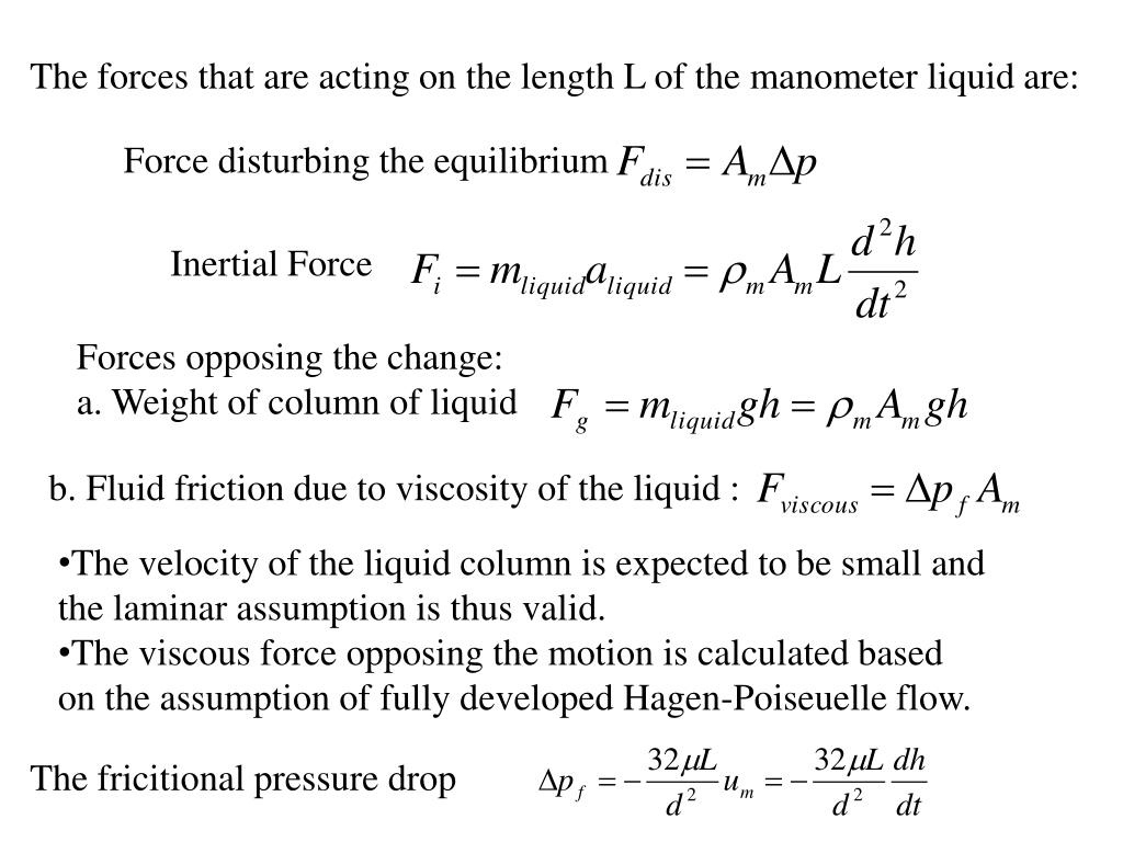 The forces that are acting on the length L of the manometer liquid are: