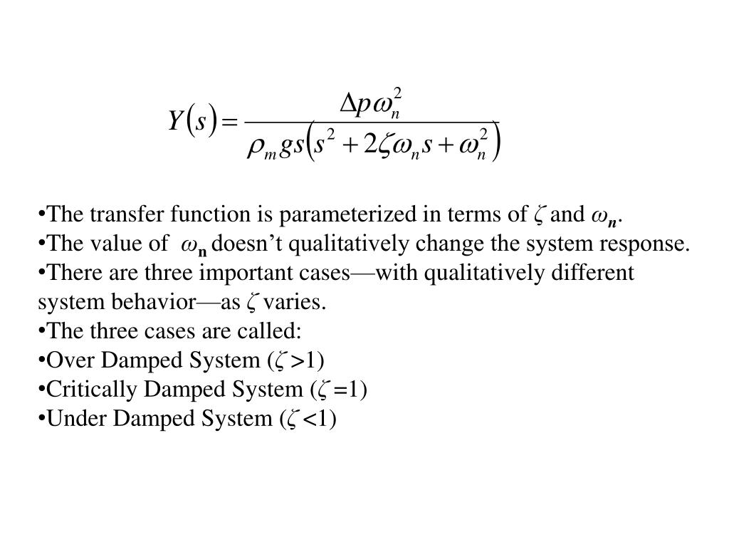 The transfer function is parameterized in terms of