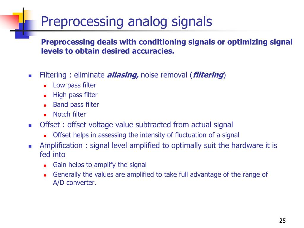 Preprocessing analog signals