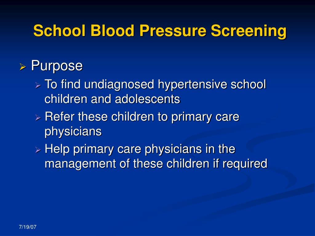 School Blood Pressure Screening