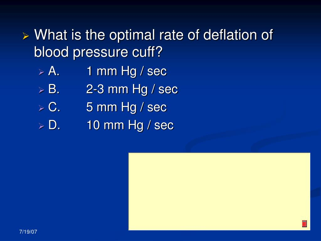 What is the optimal rate of deflation of blood pressure cuff?