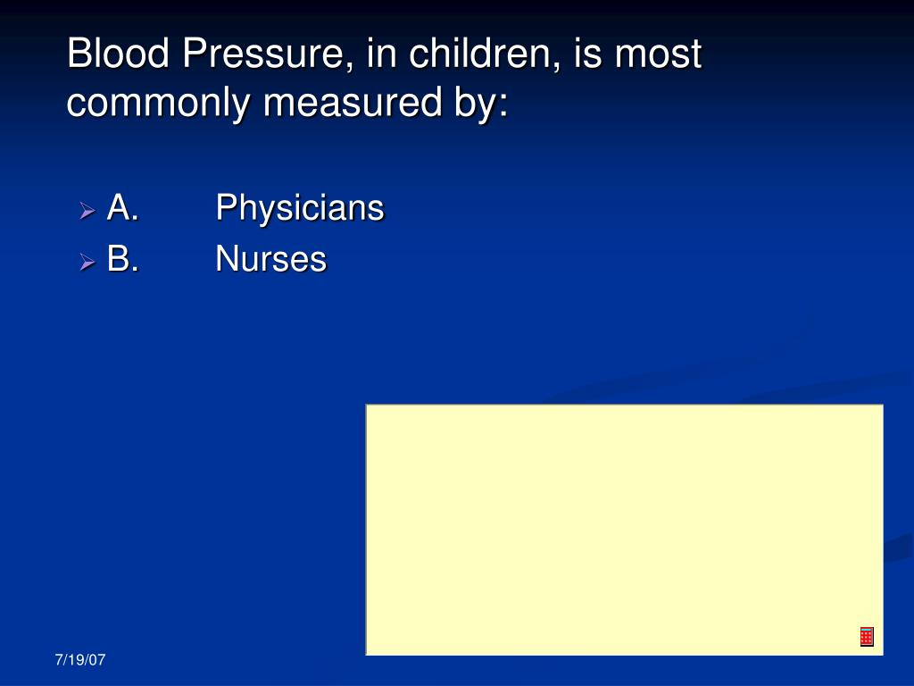 Blood Pressure, in children, is most commonly measured by: