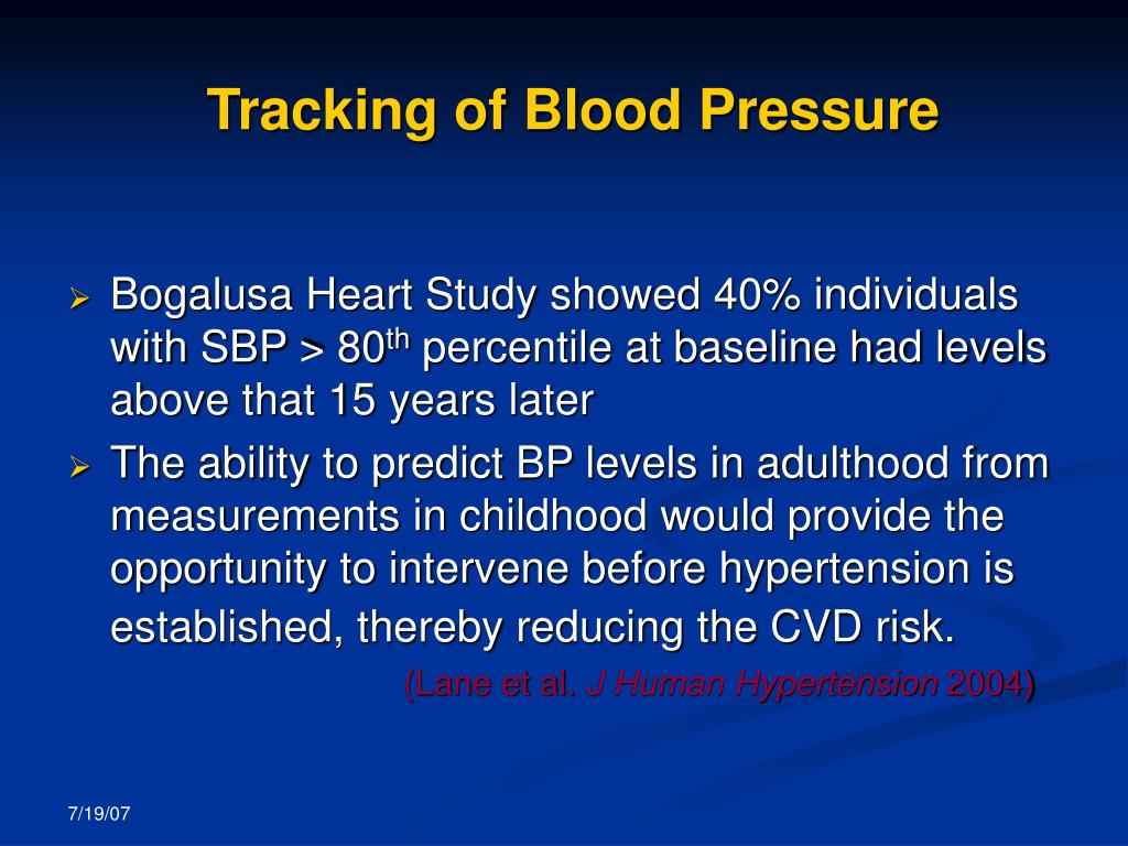 Tracking of Blood Pressure