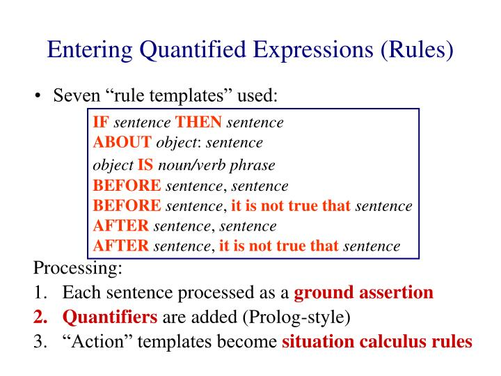Entering Quantified Expressions (Rules)