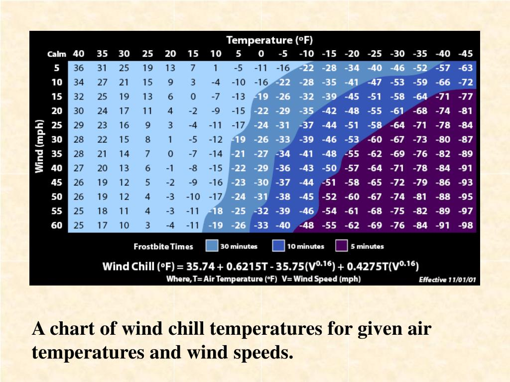 A chart of wind chill temperatures for given air temperatures and wind speeds.