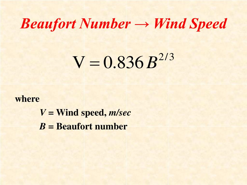 Beaufort Number → Wind Speed