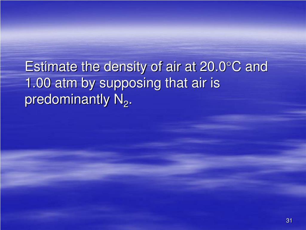 Estimate the density of air at 20.0