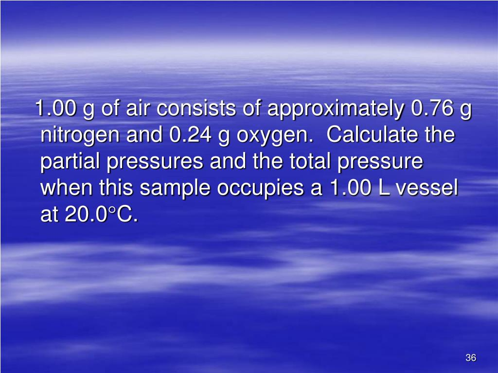 1.00 g of air consists of approximately 0.76 g nitrogen and 0.24 g oxygen.  Calculate the partial pressures and the total pressure when this sample occupies a 1.00 L vessel at 20.0