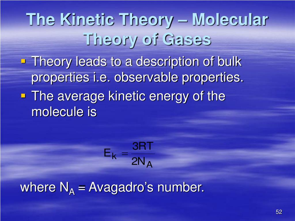 The Kinetic Theory – Molecular Theory of Gases