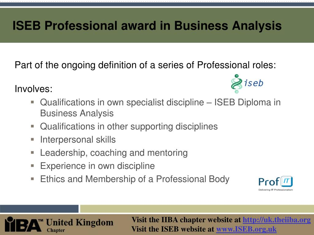 ISEB Professional award in Business Analysis