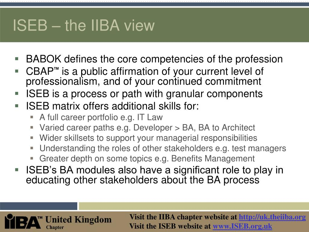 ISEB – the IIBA view