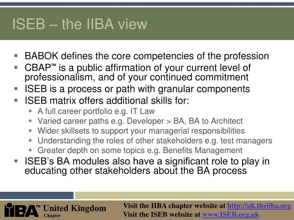 ISEB – the IIBA view