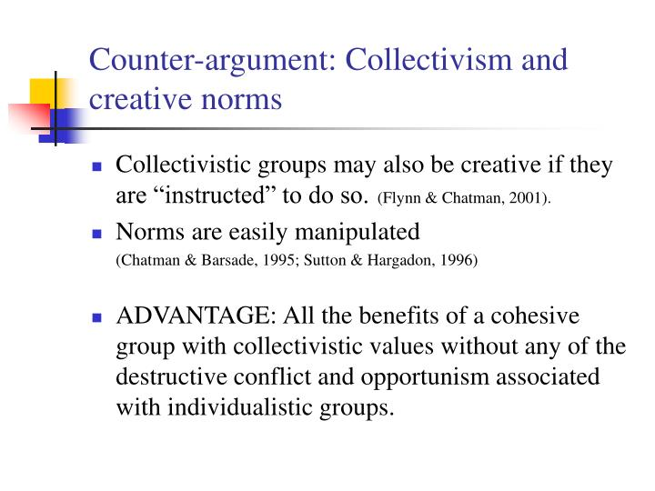 Counter-argument: Collectivism and creative norms