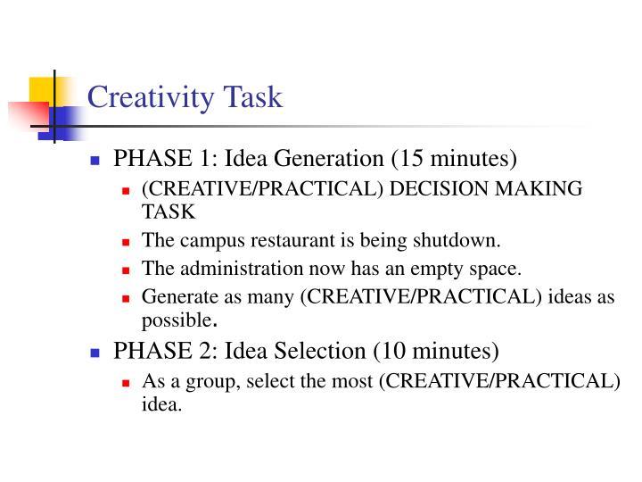 Creativity Task