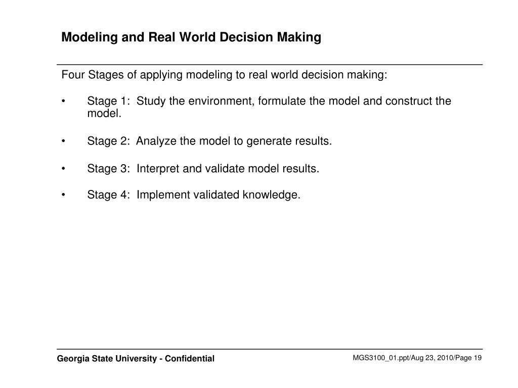Modeling and Real World Decision Making