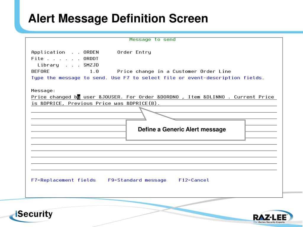 Alert Message Definition Screen