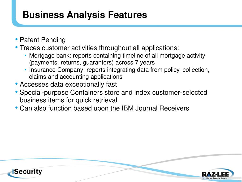 Business Analysis Features