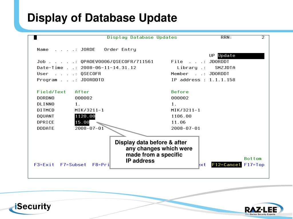 Display of Database Update