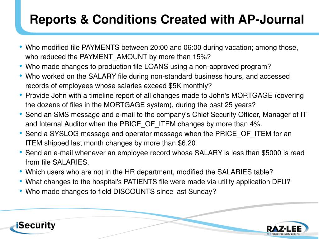 Reports & Conditions Created with AP-Journal