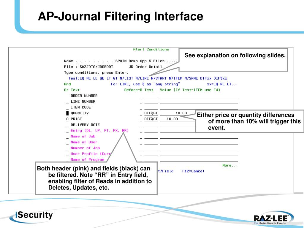 AP-Journal Filtering Interface