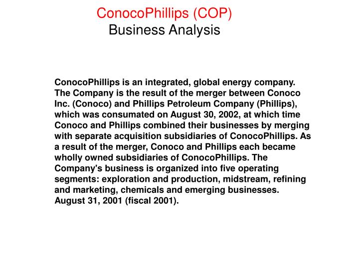 Conocophillips cop business analysis
