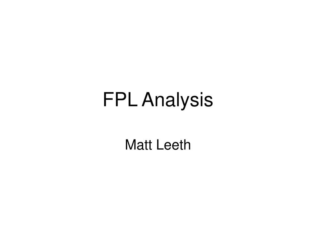 FPL Analysis