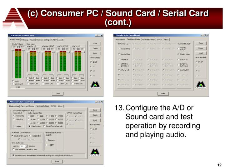 (c) Consumer PC / Sound Card / Serial Card (cont.)