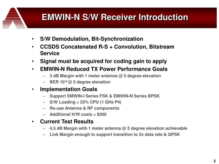 Emwin n s w receiver introduction