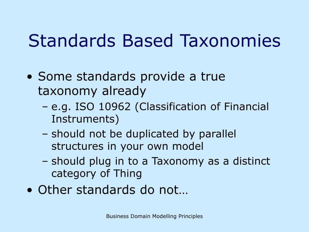 Standards Based Taxonomies