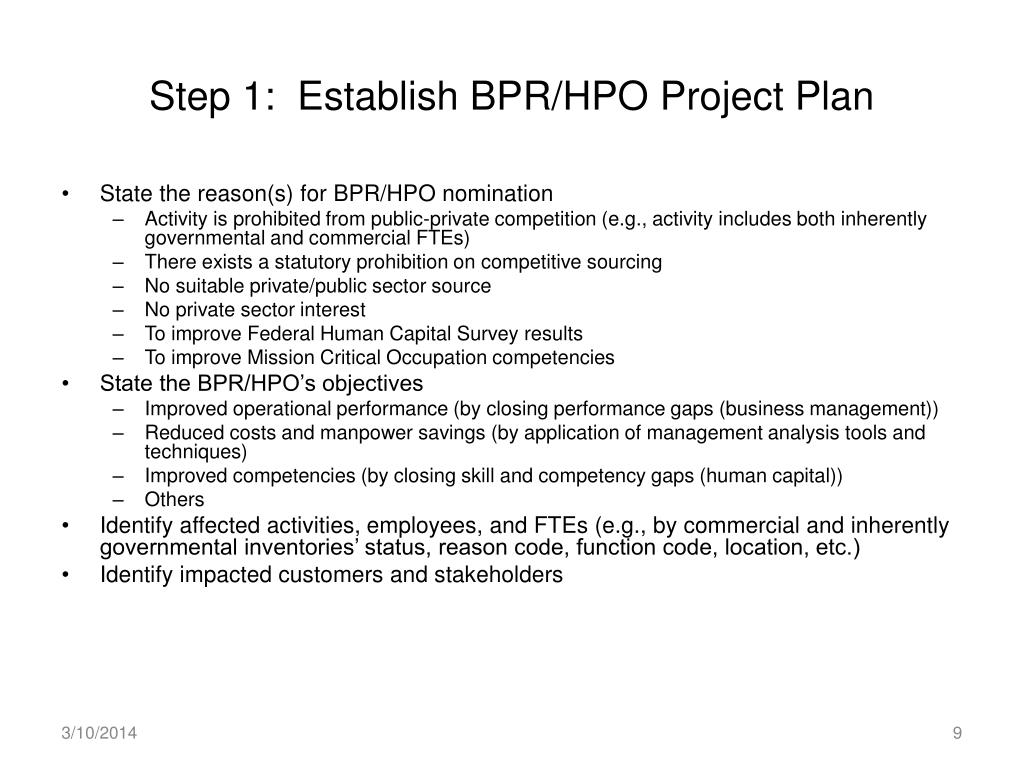 Step 1:  Establish BPR/HPO Project Plan