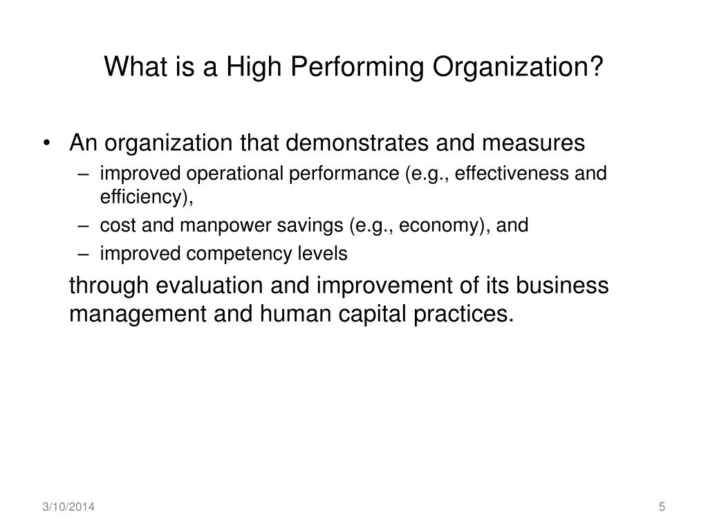 What is a High Performing Organization?