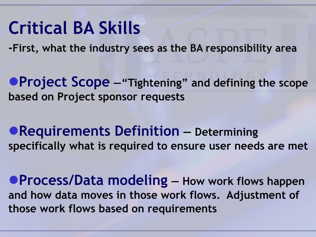 Critical BA Skills