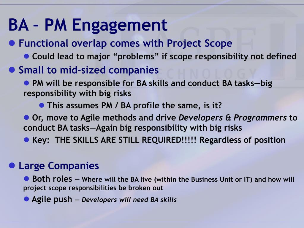 BA – PM Engagement