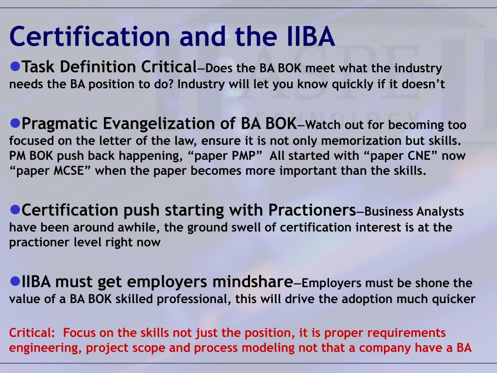 Certification and the IIBA
