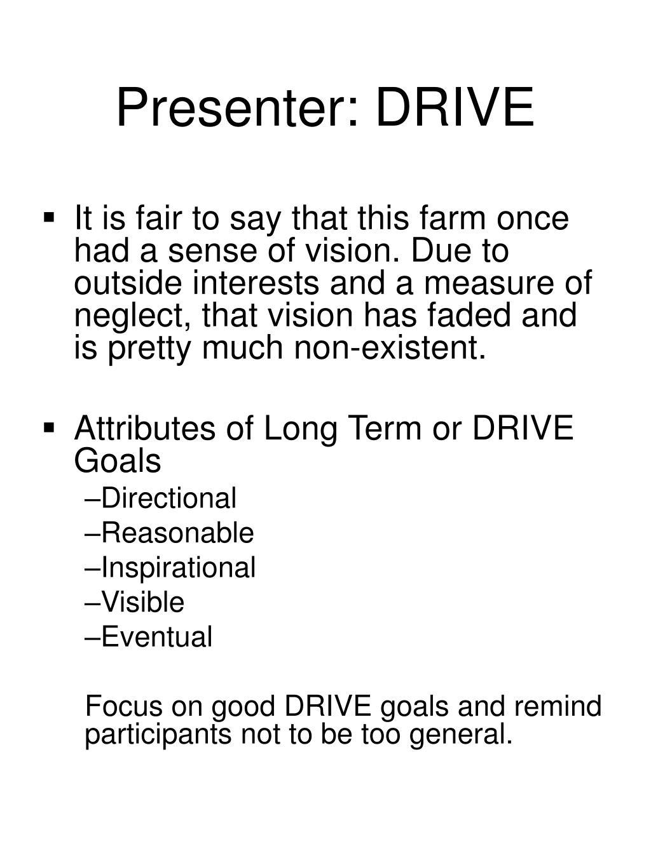 Presenter: DRIVE