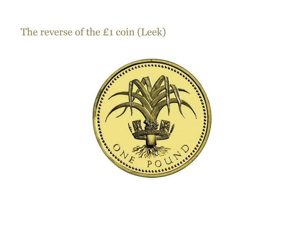 The reverse of the £1 coin (Leek)