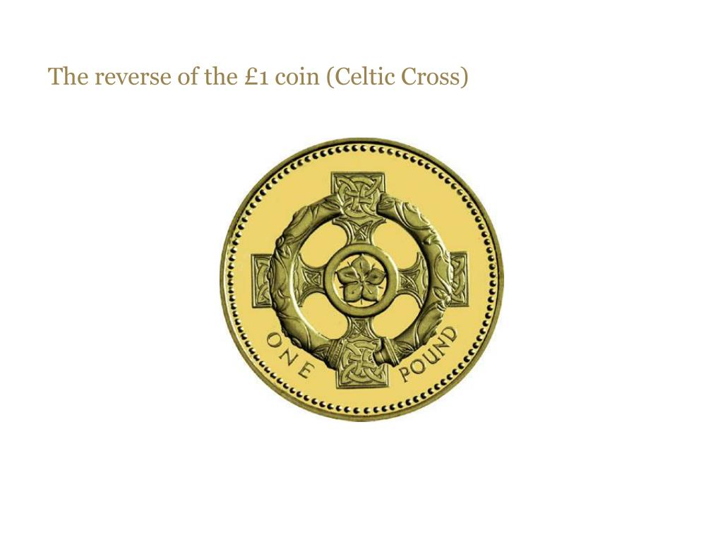 The reverse of the £1 coin (Celtic Cross)