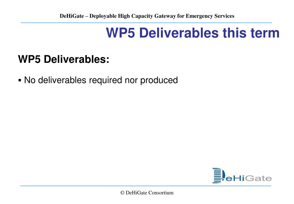 WP5 Deliverables this term