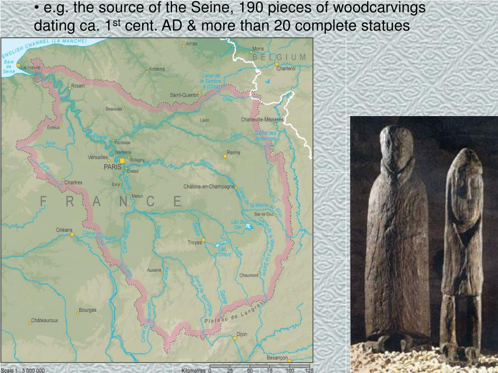 e.g. the source of the Seine, 190 pieces of woodcarvings dating ca. 1