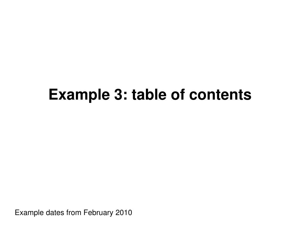 Example 3: table of contents