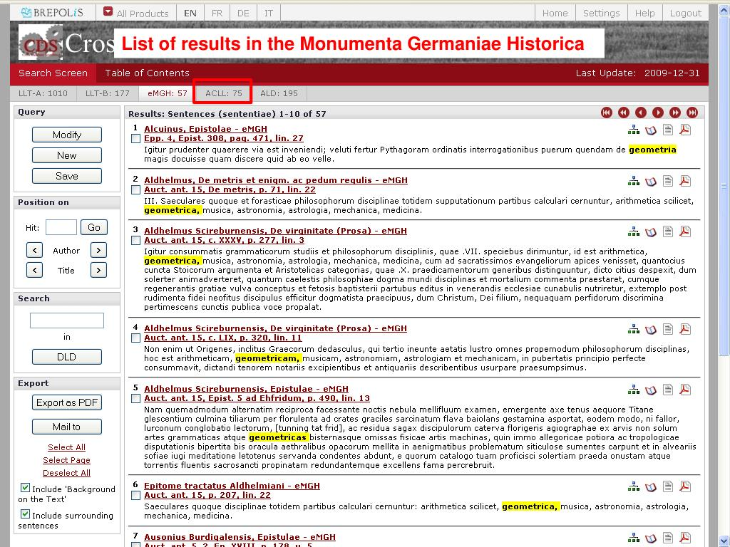 List of results in the Monumenta Germaniae Historica