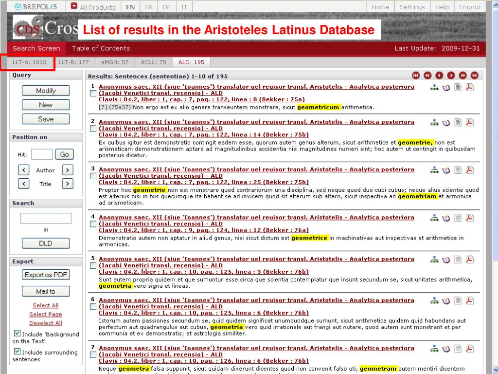 List of results in the Aristoteles Latinus Database
