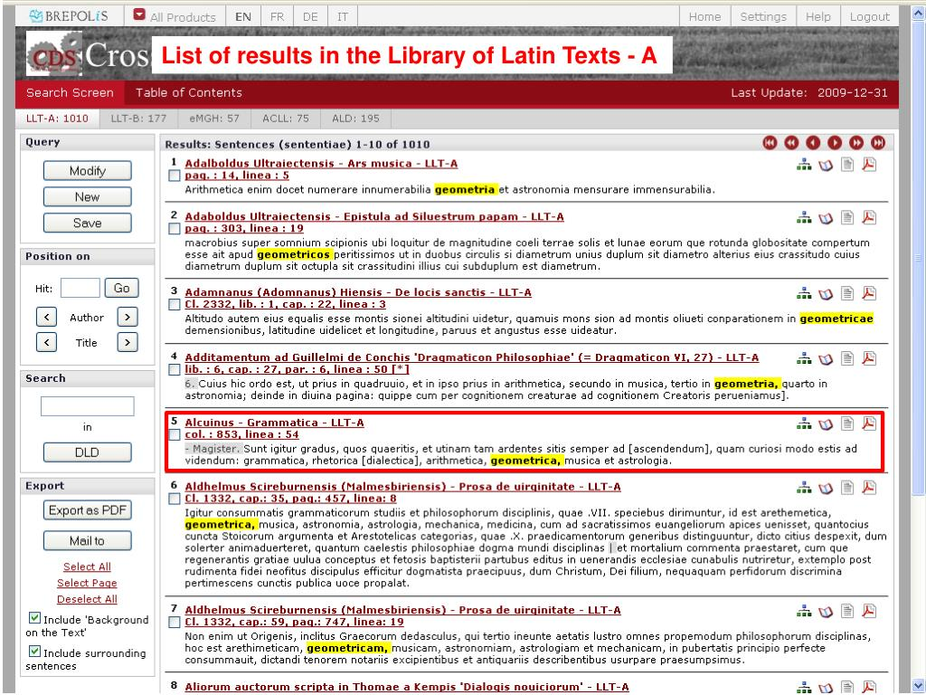 List of results in the Library of Latin Texts - A