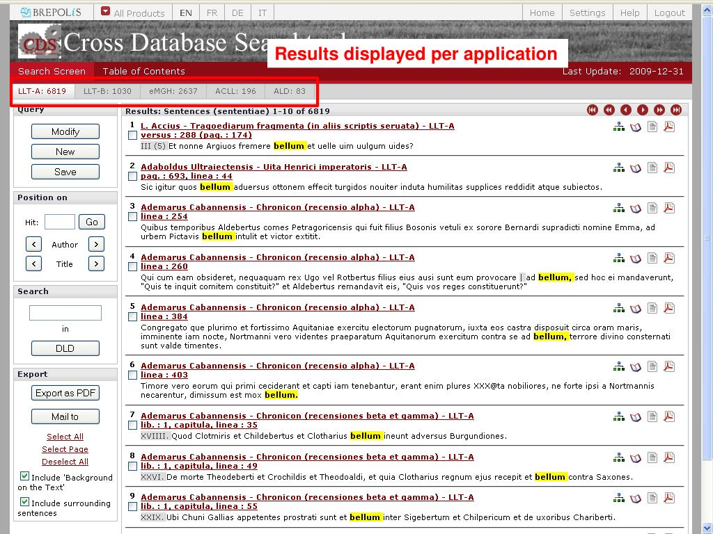 Results displayed per application