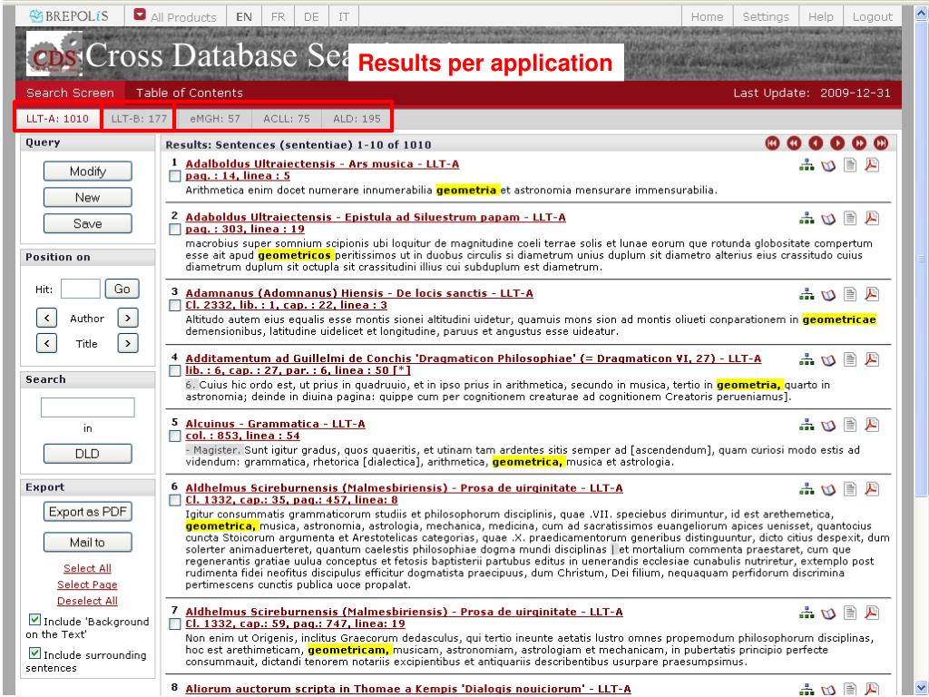 Results per application